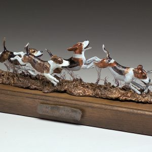 "'Beagle Pack"" - by Jim Gartin 20"" x 5"" x 6""H - Bronze L/E 30 Your Beagle Hounds can be represented in this sculpture by coloring from your pictures."