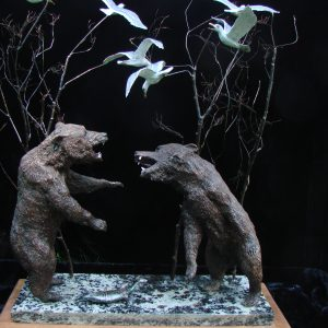 """Bear Market"" by James Carlson Gartin 14"" x 6""x 20""H - 35lbs L/E 30 Bronze on Garnet Stone"