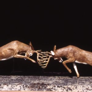 """Buck Battle"" - Whitetail Deer by Jim Gartin 20"" x 6""x 10H"" - 25lbs - L/E -30 Bronze on Adirondack Garnet Stone"