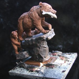 """Late For Dinner"" by Jim Gartin 14"" x 20"" x 20""H - L/E - 30 Bronze on Adirondack Garnet Stone"