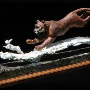 """Lion Lunch"" by Jim Gartin 20"" x 4"" x 7""h - 15lbs L/E 30 Bronze on Adirondack Garnet Stone"