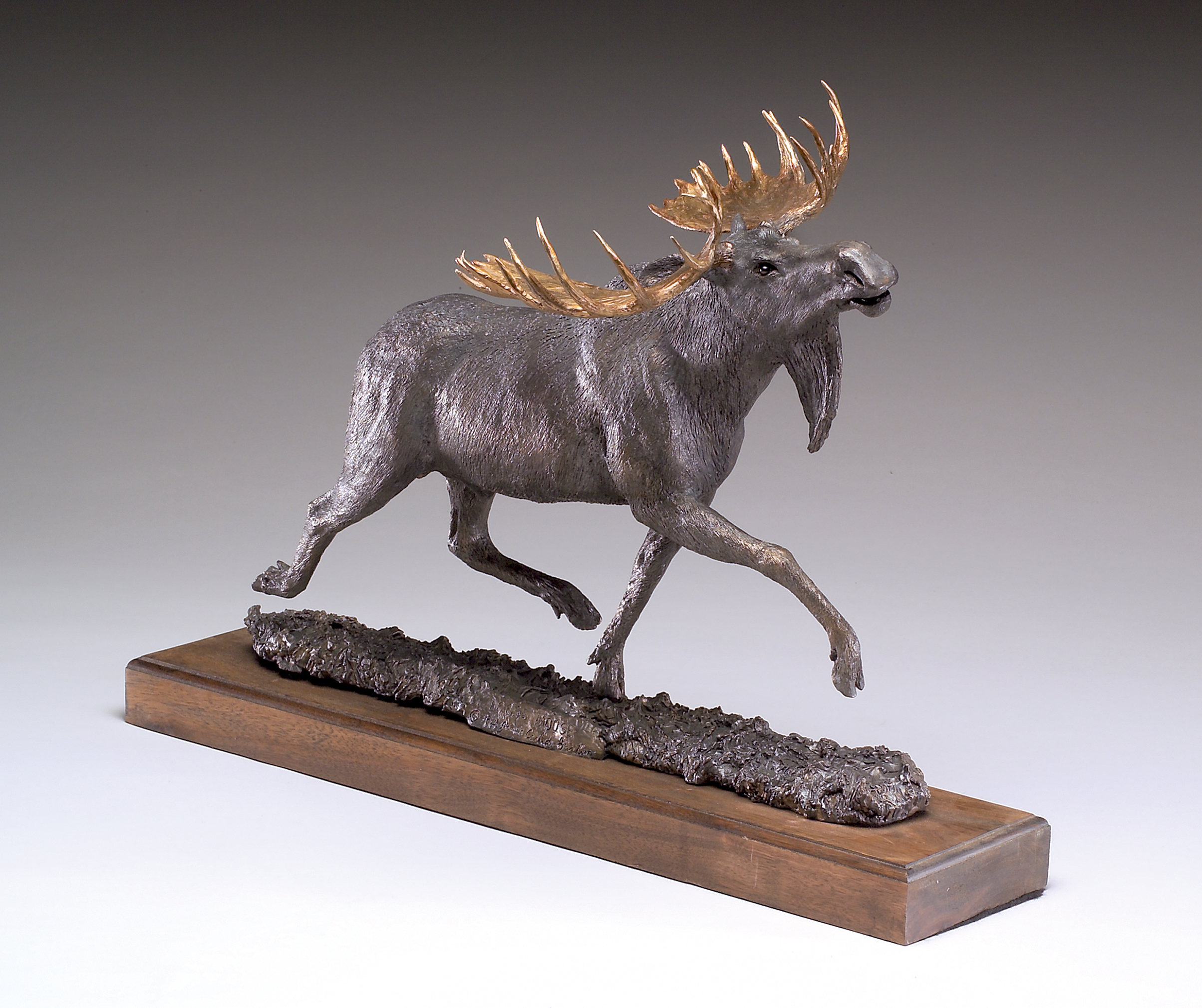 """Loose Moose"" by Jim Gartin 24"" x 6.5"" x 17""H - Bronze"