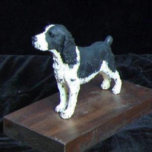 """Springer Spaniel"" sculpture by Jim Gartin 4"" x 6"" x 6""H - L/E -99 - Painted Resin"
