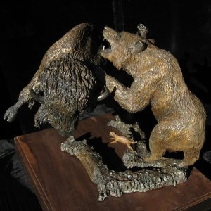 """Wall Street "" Bull and Bear by Jim Gartin 18"" x 19"" x 19""H - 50lbs - L/E -30 Bronze Bull Buffalo, Grizzly Bear The prairie dog represents the individual investor....us."