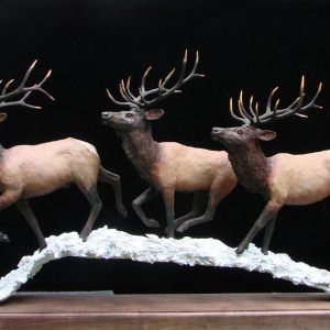 """Wapiti on the Run II"" - By Jim Gartin 35"" x 6"" x 24""H - 32lbs - L/E - 99"