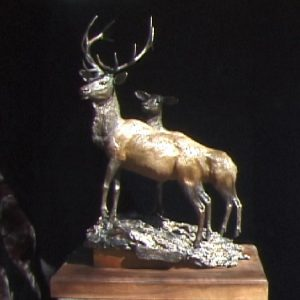 """Wapiti watching Wolves"" by Jim Gartin 16"" x 10"" x 24""H - L/E -30 - Bronze"