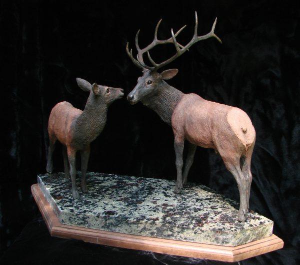 """Wapiti Woo"" - North American: Elk 24"" x 11"" x 18""H - L/E -30 Bronze on Adirondack Garnet Stone"