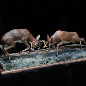 """Whitetail War"" 18"" x 6"" x 10""H - 24lbs - L/E -30 Bronze on Garnet Stone"