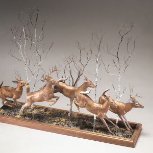 """Whitetails on the Run"" 41"" x 9"" x 20""H - 45lbs - L/E -10 Bronze on Adirondack Garnet Stone"