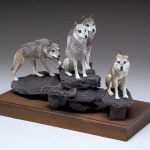 """Wolves Watching Wapiti"" Bronze Sculpture by Jim Gartin 18"" x 10"" x 14""H- 40lbs - L/E -30"