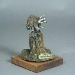 """""""Coon"""" - Bronze Racoon Sculpture 3"""" x 3"""" x 6""""H - L/E -30 - Bronze"""