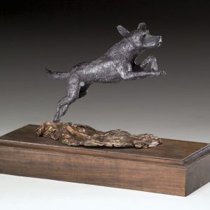 """Lab Leaping"" -Black Lab Bronze Sculpture by Jim Gartin 4"" x 6"" x 6""H - L/E -10 - Bronze"