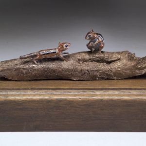 """Chipmunks"" Bronze Sculpture by Jim Gartin 6"" x 3"" x 3""H - L/E -30 - Bronze Sculpture"