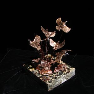 """Covey"" (Bob White Quail) by Jim Gartin 4"" x 4""x 5""H - L/E -10 - Bronze on Garnet Stone"