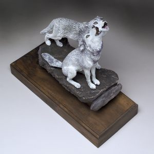 """Duet"" - Wolves Howling Sculpture by Jim Gartin 6"" x 5"" x 6""H - L/E -30 - Bronze Sculpture"
