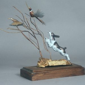 """Flushed""- Springer Spaniel and Pheasant by Jim Gartin 5"" x 10"" x 12""H - L/E - 30 - Bronze"