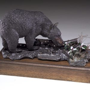 """Summer Smells"" - Black Bear by Jim Gartin 8"" x 5"" x 5""H - L/E -10 - Bronze Sculpture"